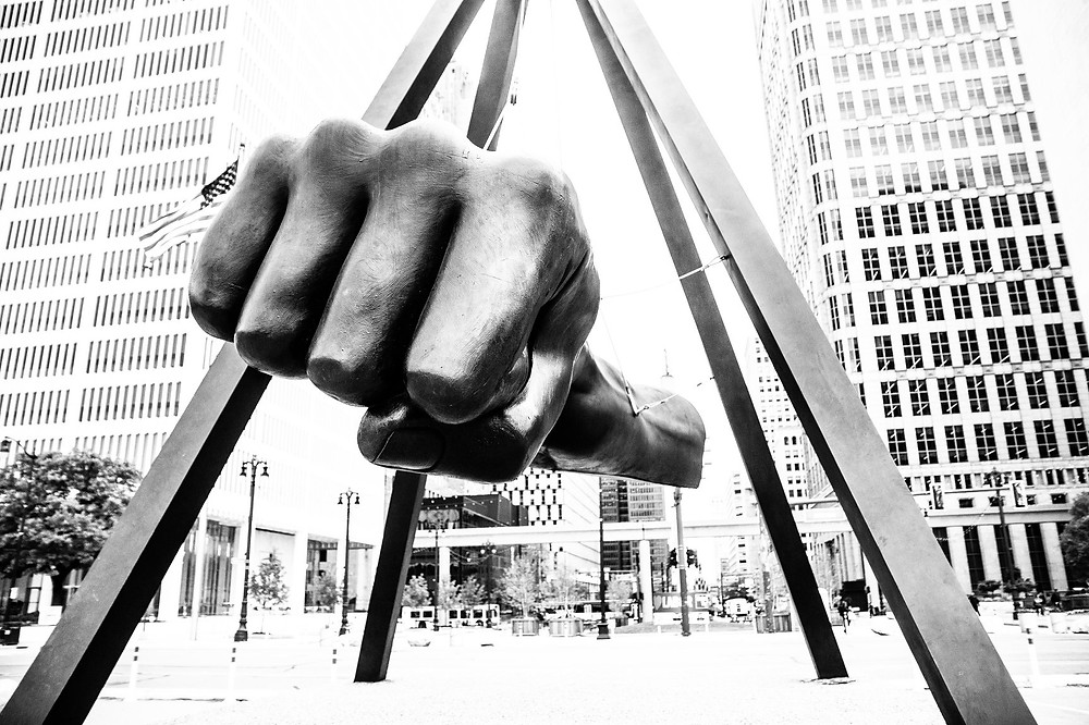 The Monument to Joe Louis in Detroit