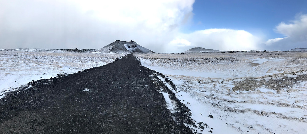 Saxhóll Crater in Iceland in winter