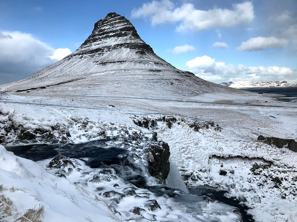 Kirkjufell Mountain in Iceland in winter