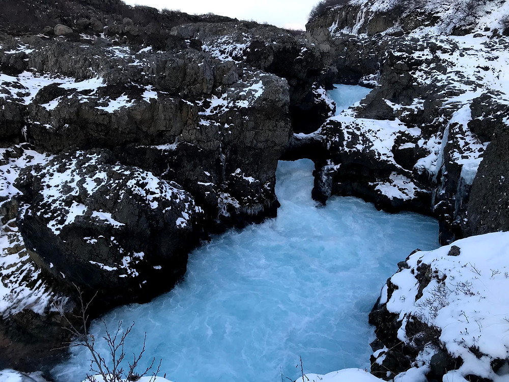 Barnafoss waterfall in Iceland in winter