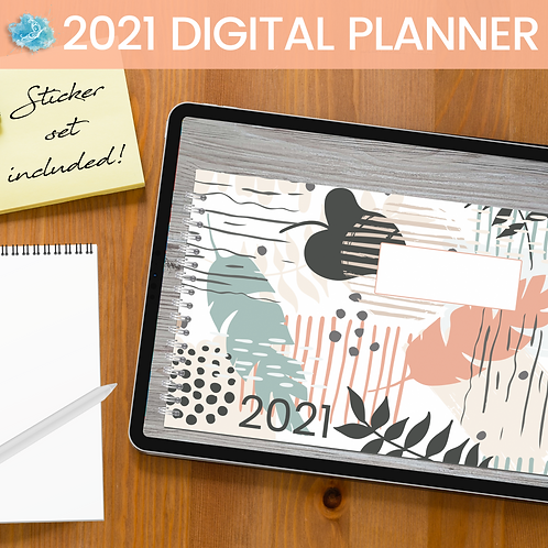 2021 Coral Feathers Digital Planner - Bujo + over 130 stickers