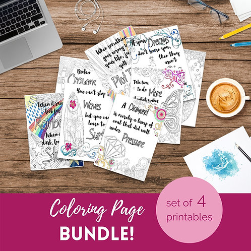 Adult Inspirational Coloring Pages printable Set of 4 - Bundle #2