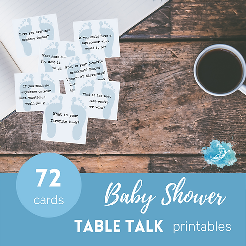 Blue BABY SHOWER Table Talk conversation starter cards/ice breakers Printable