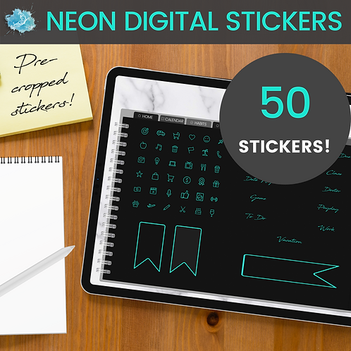 Blue NEON Digital Sticker set - 50 stickers (pre-cropped PNG files)