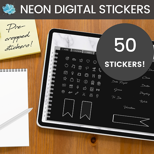 White NEON Digital Sticker set - 50 stickers (pre-cropped PNG files)