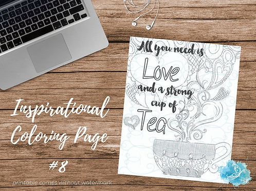 Adult Inspirational Coloring Page printable #08-A Cup of Tea