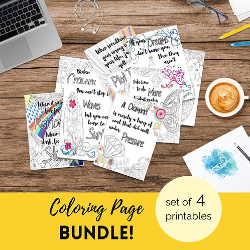 Adult Inspirational Coloring Pages printable Set of 4 - Bundle #3
