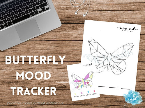 Butterfly Mood Tracker - Geometric Animals (digital + print files) bujo insert