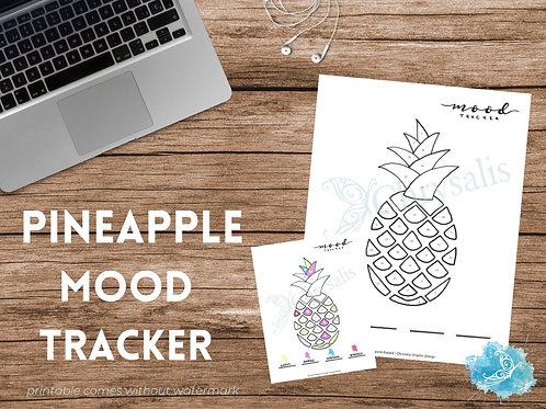 Pineapple Mood Tracker - Geometric Food Series (digital + print files) bujo inse