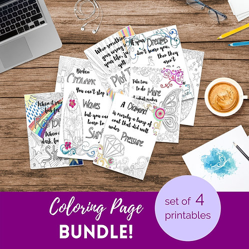 Adult Inspirational Coloring Pages printable Set of 4 - Bundle #4
