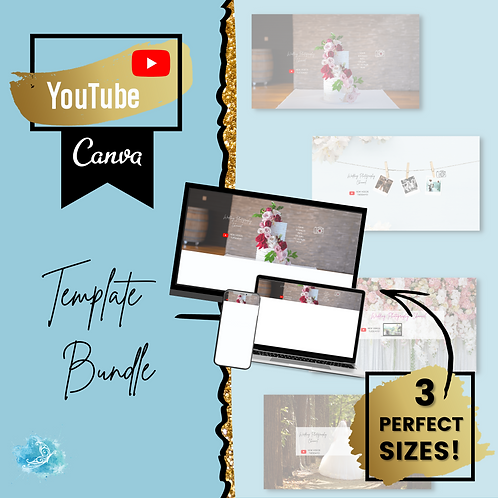 YouTube Banner CANVA template bundle - the perfect sizes for any device!