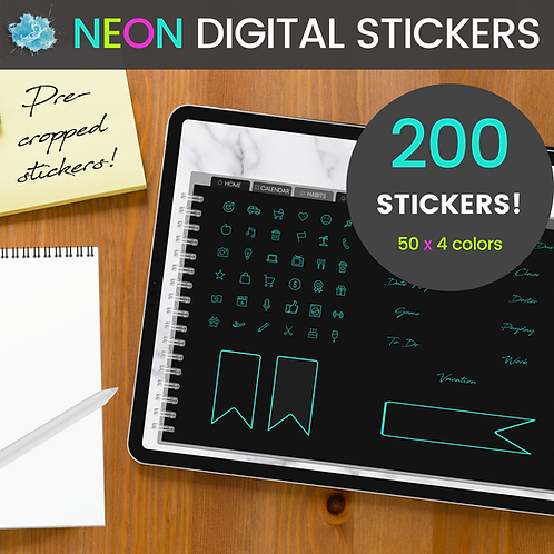 NEON Digital Sticker set - 200 stickers (pre-cropped PNG files)