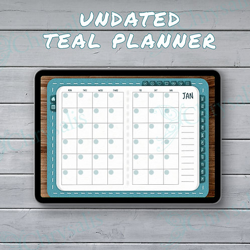UNDATED Teal Digital Planner - Bujo + 130 stickers