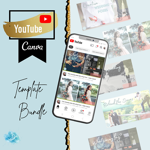 YouTube CANVA template bundle 5 varieties + 5 bonus templates!