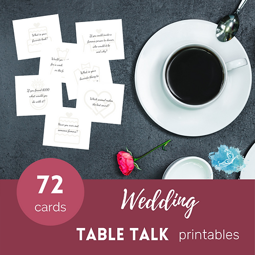 WEDDING Table Talk conversation starter cards/ice breakers PRINTABLE