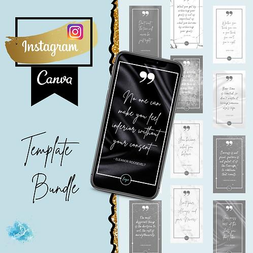Instagram Story CANVA template bundle 75 quote cards - Elegant Black & White