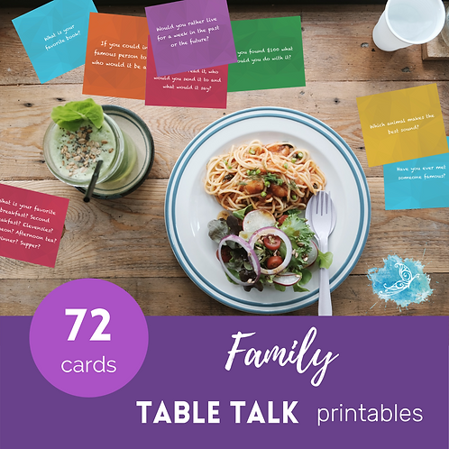 FAMILY Table Talk conversation starter cards/ice breakers PRINTABLE