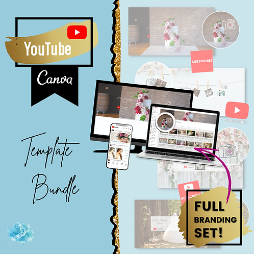 YouTube branding CANVA template bundle - save 40% with the set!