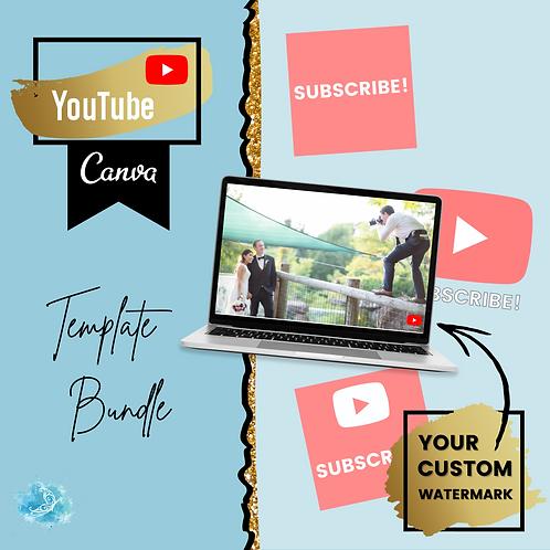 YouTube watermark CANVA template bundle - custom branded button!