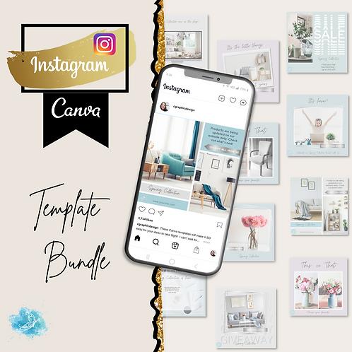 Instagram CANVA e-commerce template bundle 10 varieties + 30 bonus templates!