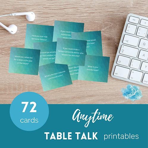 Table Talk conversation starter cards/ice breakers PRINTABLE