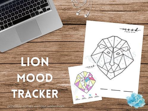 Lion Mood Tracker - Geometric Animals (digital + print files) bujo insert