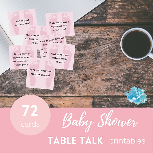 Pink BABY SHOWER Table Talk conversation starter cards/ice breakers Printable