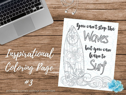 Adult Inspirational Coloring Page printable #03-Learn to Surf