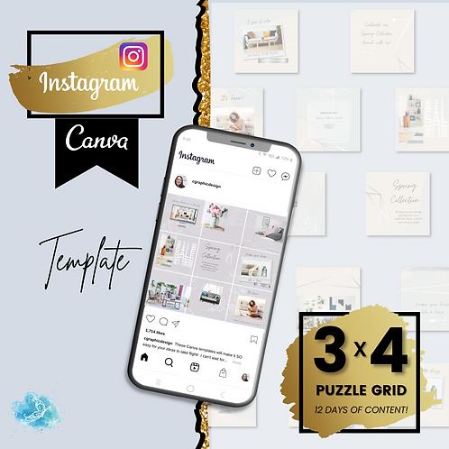 Instagram 3x4 puzzle grid CANVA e-commerce template - 12 days of content + BONUS