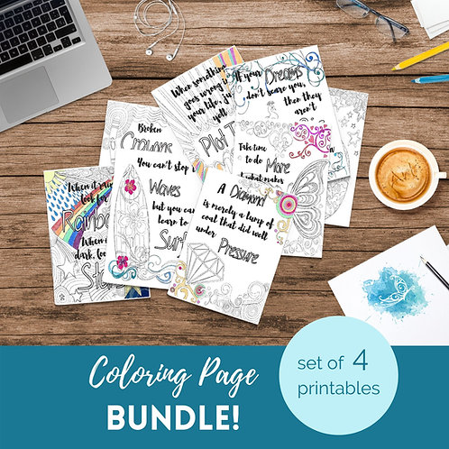 Adult Inspirational Coloring Pages printable Set of 4 - Bundle #1