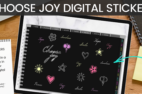 CHOOSE JOY Digital Sticker set - 22 stickers (pre-cropped GoodNotes + PNG)