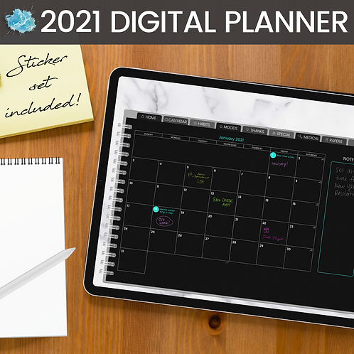 2021 Black Pages Digital Planner - Bujo + 200 stickers
