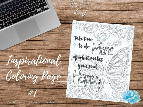 Adult Inspirational Coloring Page printable #01-Make your Soul Happy