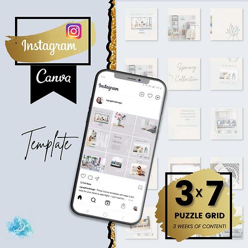 Instagram 3x7 puzzle grid CANVA e-commerce template - 3 Weeks of content + BONUS