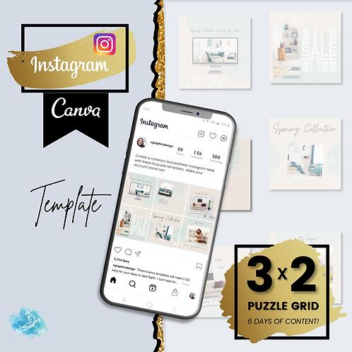 Instagram 3x2 puzzle mini grid CANVA e-commerce template - 6 days of content + B