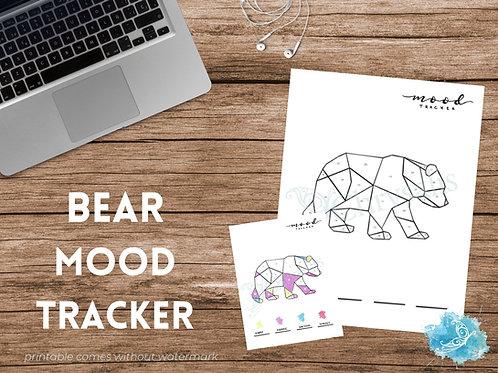 Bear Mood Tracker - Geometric Animals (digital + print files) bujo insert