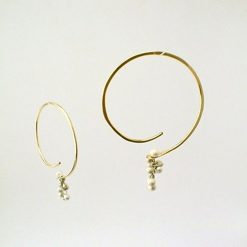 """Soft Hoops, small, 14 K gold filled with caviar 1 1/2"""" diameter"""