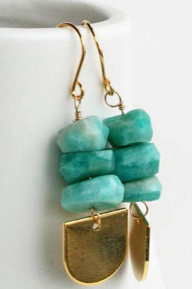 Amazonite Disc Earrings