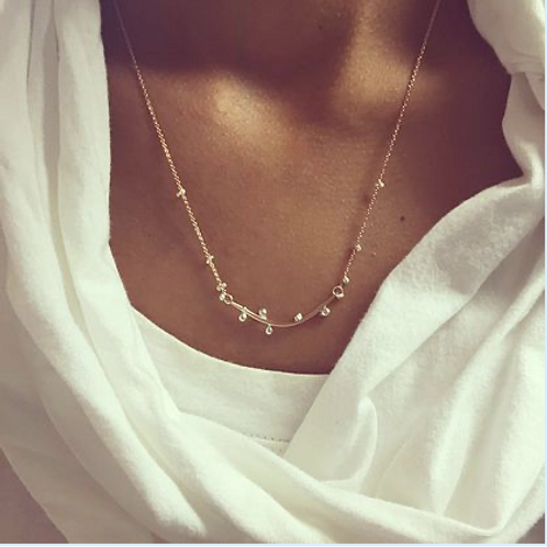 """Bulb Bar Necklace 14K gold filled with silver bulbs 18"""""""