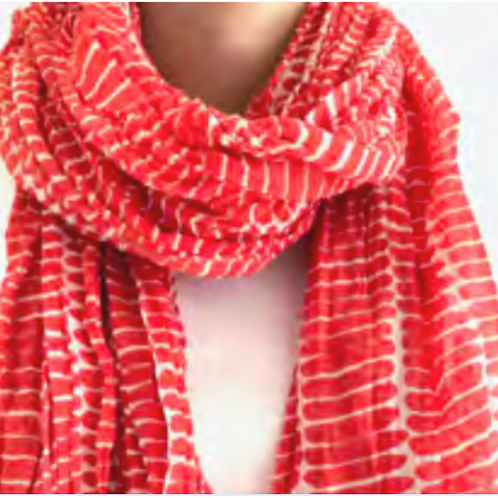 Scarf, Fence Red Cotton