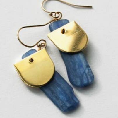 Kyanite Half Dome Earrings