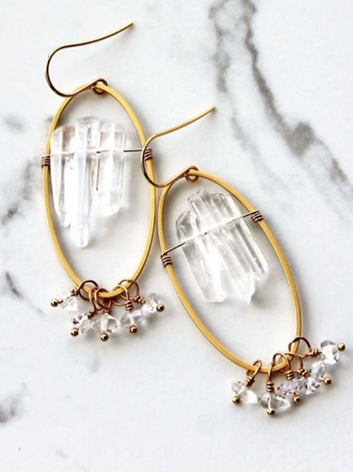 Crystal Shard Oval Earrings; Herkimer Diamond