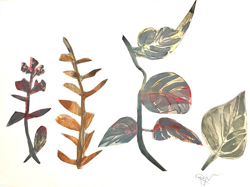 """Painted paper cutouts, Autumn Cuttings, 20""""x16"""" with mat"""