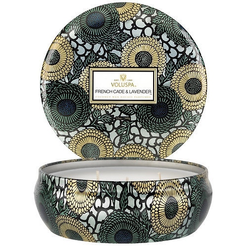 French Cade & Lavender 3-wick Tin Candle