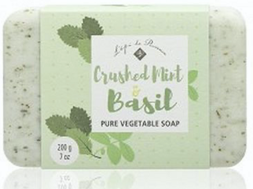 French Milled Soap, Crushed Mint & Basil, 200g