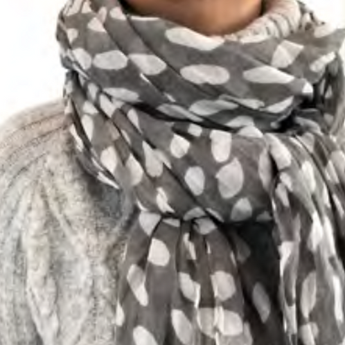 Scarf, Cheetah Gray Cotton