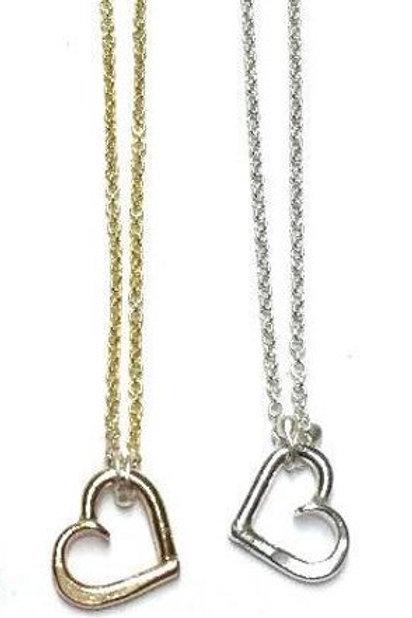 """Mini Heart Necklace, Silver, 18"""""""