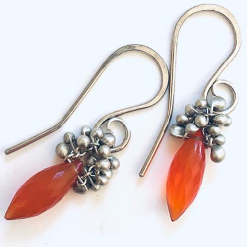 """Carnelian Dew Drop Earrings Silver 1.25"""""""