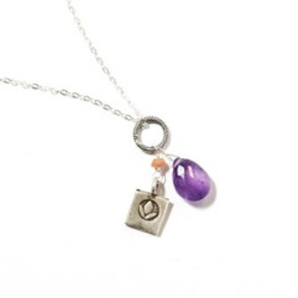 Ameythyst with square lotus necklace