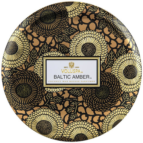 Baltic Amber 3-wick tin candles